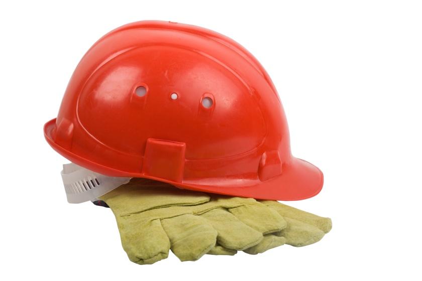 Red helmet with mitten