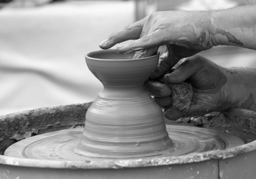 pot on potters' wheel_black and white